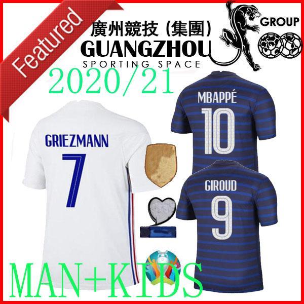 2020 Weltmeisterschaft 2019 Frankreich KIDS Jersey Soccers FRANCE 20 21 zu Hause weg Mbappe 2021 maillot de foot Fußballmannschaft 2 Sterne