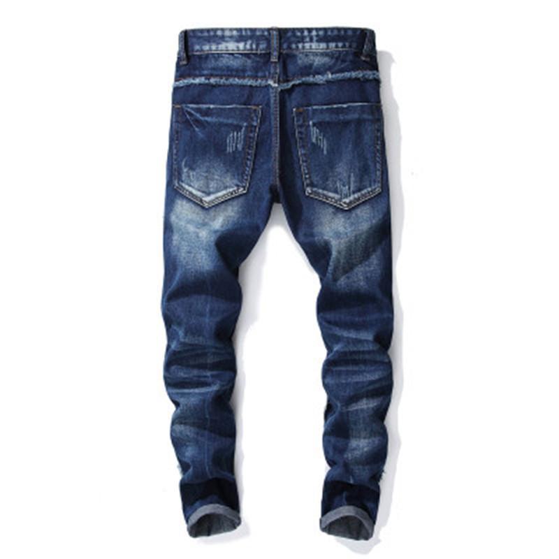 Mode hommes occasionnels de jeans de haute qualité, rue de motifs de broderie jeans de haute qualité Stitching personnalité de jeans de haute qualité mens C étranger