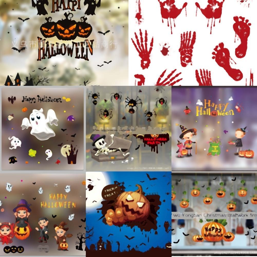 yKeNI Decorazioni per porte e finestre vetrofanie adesivi Terrorist decorazioni in vetro zucca Footprints sangue Handprint Adesivi