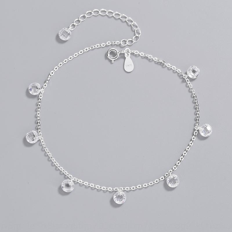 UVNI8 style coréen de style INS S925 argent femmes pendaison croix à la main minimaliste personnalisé de chaîne pendentif pendentif bracelet de cheville pied en cristal fo