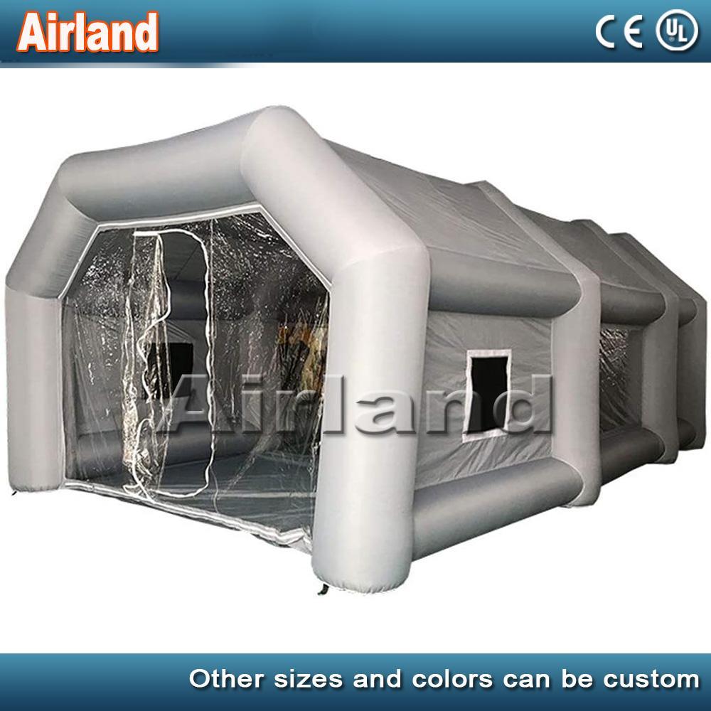 نفخ رذاذ كشك خيمة الطلاء المحمولة موقف بوث مع نظام تصفية، لCarMotorcycle أنشطة في الهواء الطلق، الفضة (يمكن تخصيص)