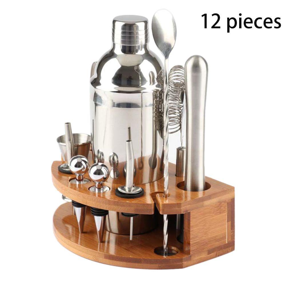 12pcs Bamboo Tribuna Schiacciato Popsicle Shaker Set Casa in acciaio inox
