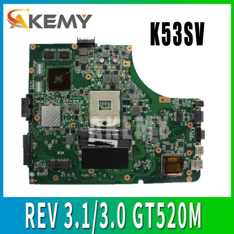 K53SV madre REV 3.1 / 3.0 GT520M per ASUS K53S A53S K53SV K53SJ P53SJ X53S portatile prova della scheda madre Mainboard 100% ok