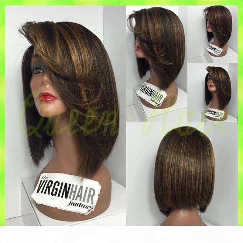 7A Short full lace bob wig brazilian full lace human hair wigs with bangs,glueless bob lace front wig for black women