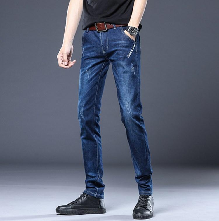 Горячие продажи 2020 весна осень дизайнер роскошные мужские джинсы европейский американский модный бренд стрейч тонкий карандаш брюки печатных Сращивание брючные
