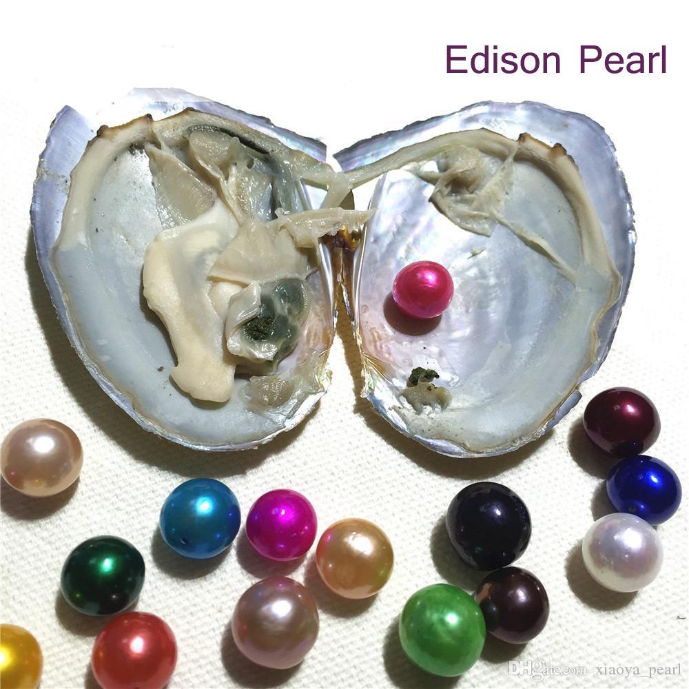 Kadınlar parti DIY Mücevherat için Funny Günü Hediye Anlamı Tatlısu Oyster İstek Pearl 2020 Yeni Gökkuşağı 9-12mm Edison inci