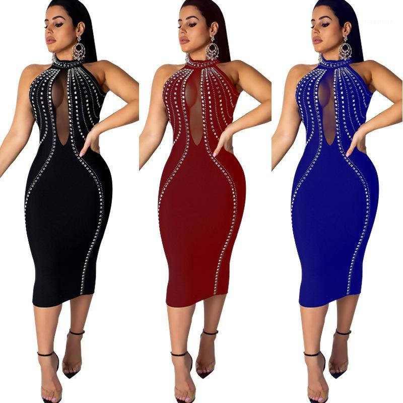 Robe Femmes Mesh See Through Robe sexy dos nu manches Hot diamant Skinny Party Designer