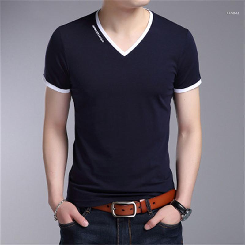 T-shirt Fashion Trend V Neck Loose Casual Tops Tees Designer Summer Teenager Solid Color Short Sleeve T-shirt Clothes Man Korean Casual