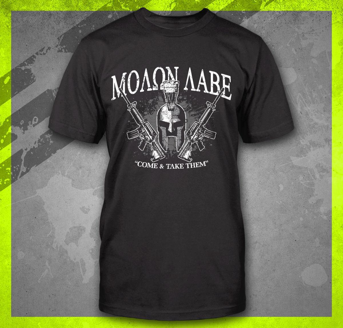 Yeni Erkekler'S Molon LABE BUNLARI ALIN GELİN 2019 Sıcak Satış PRO GUN TEE İKİNCİ DEĞİŞİKLİĞİ SPARTAN olan T-shirt Yaz Moda AR15