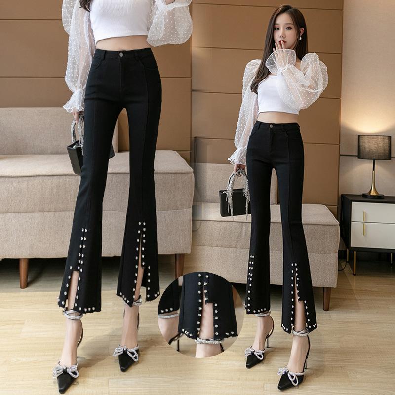 2020 высокой талии осенью новый корейских женщин супер стрейч тяжелый бисерные тонкий микро-расклешенные брюки модные женские брюки