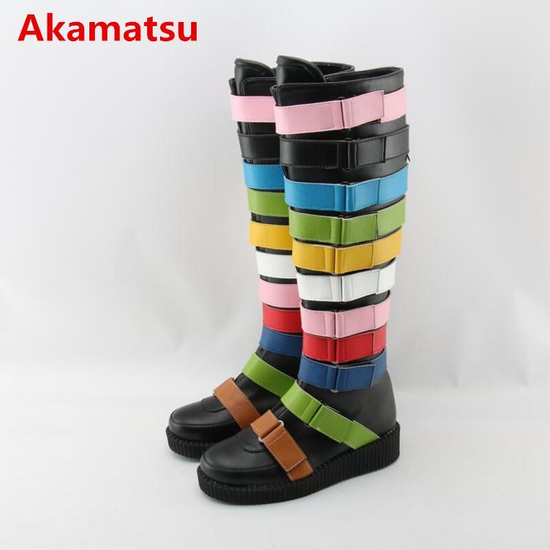 Botas feminina arco iris de color hebilla zapatos de plataforma alta del muslo botas de lluvia Overknee cuñas Botines zapatos de las señoras de la pista de la mujer