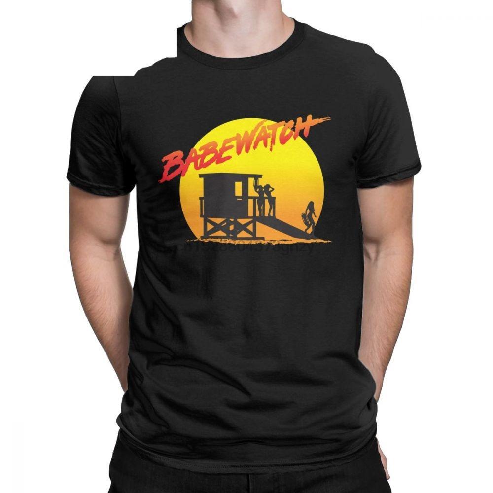 Babewatch Baywatch Men T Shirt Спасатель Красных Равномерный Высокие спасатели в Tee Shirt Футболки хлопок Tops Плюс Размер 4XL 5XL 6XL