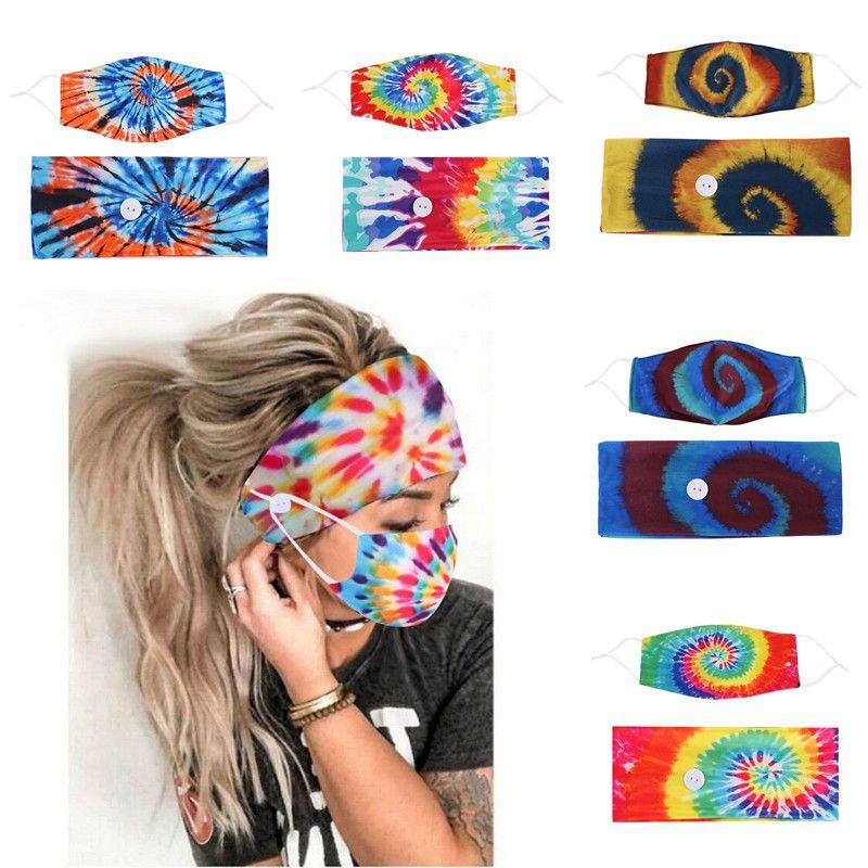 Bandeau avec bouton Masque 2 pcs bande Accessoire cheveux Lady Girl Fashion Yoga pour les femmes Ins Sport Tie Dye Accessoires cheveux