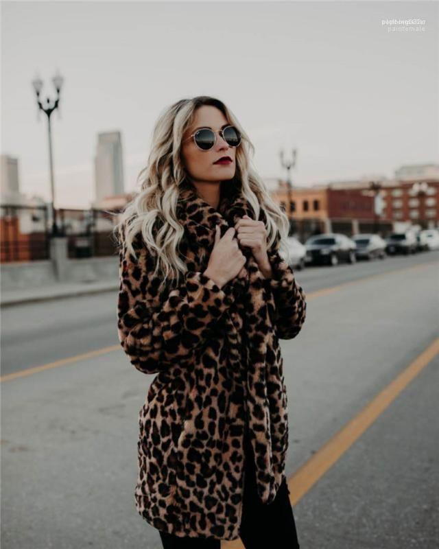 Kadınlar Moda Leopar Sahte Kürk Ceket Tasarımcı Palto Giyim