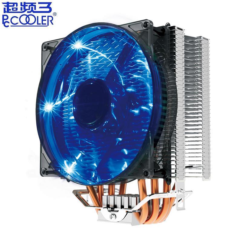 Intel 775 1155 1156 2011 AMD AM4 AM3 PC radyatör soğutma fanı için Pccooler X4 4 Isıborulu işlemci soğutucusu 120mm mavi LED PWM sessiz fanı