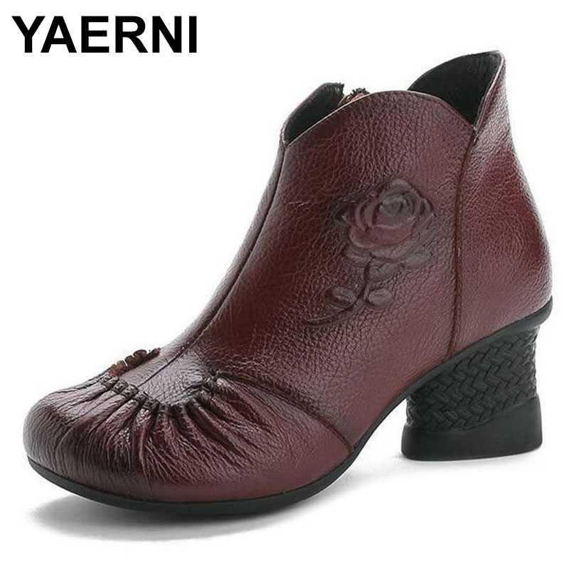 YAERNI Sonbahar Kış Bayan Gerçek Deri Bilek Boots Kadın Ayakkabı Kadınlar Su geçirmez Sıcak Kar Bot Bayan Ayakkabıları