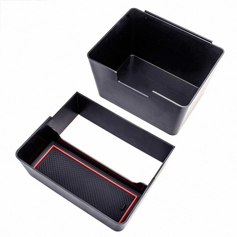 1pc ABS Car Styling Double couche boîte de rangement boîte Garbage Console Case conteneur pour le modèle 3 rI6N #