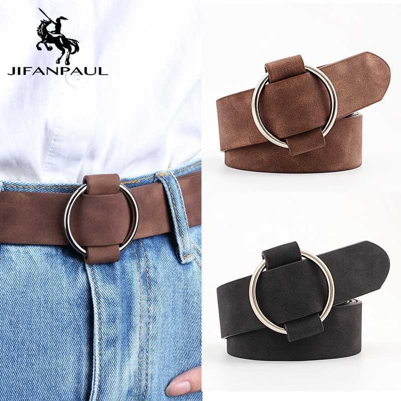 rotonde jeans di modo di alta qualità senza ago lega buco fibbia con cintura studente donna retrò trasporto libero di JIFANPAUL donne