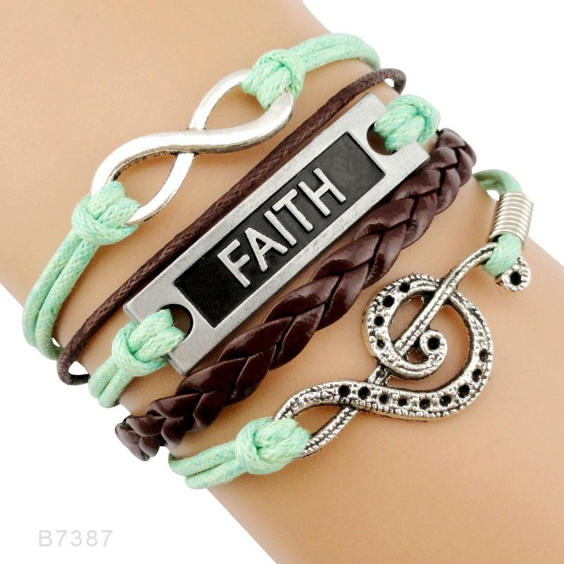 Friendship Gift Infinity Love Music Treble Clef Dance Dancing Guitar Band Mom Singing Musician Leather Wrap Bracelets for Women