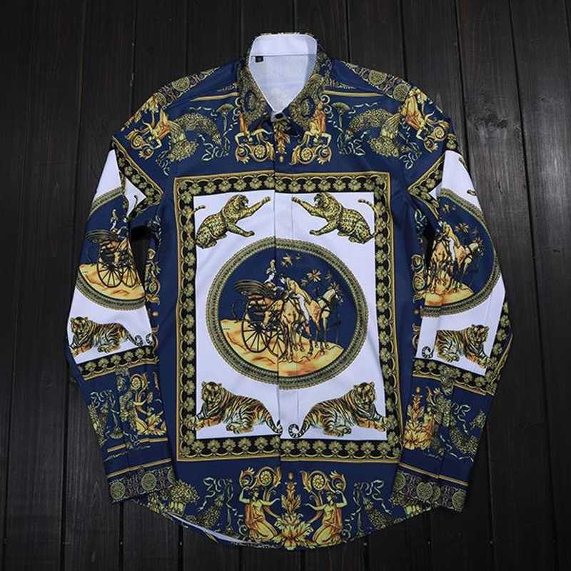 vestimenta casual de negocios de lujo retro Impreso calidad de hombres de la camisa de manga larga Marca adelgazan las camisas masculinas más tamaño 4XL Camisas