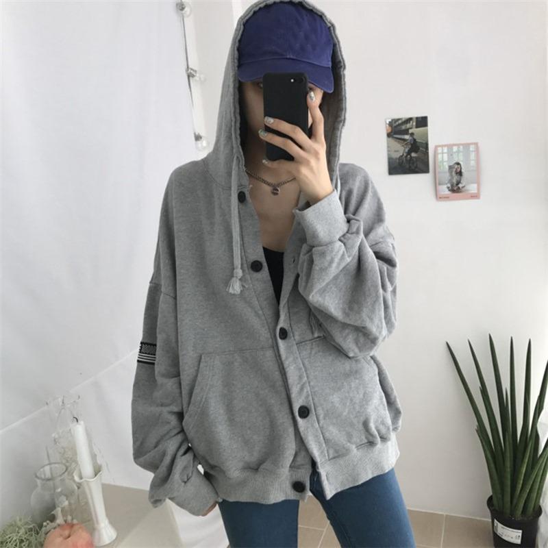 Frauen Simple Warm Langarm-Nette gestickte plus Samt lose mit Kapuze langer Mantel