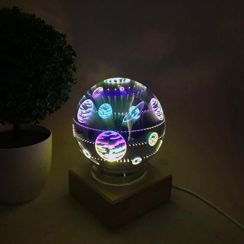 Magic Ball lâmpada de bola de vidro colorido 3d Starry Sky Estrela borboleta da noite crianças luz do quarto Decoração de Natal presentes mar navio GGA3711