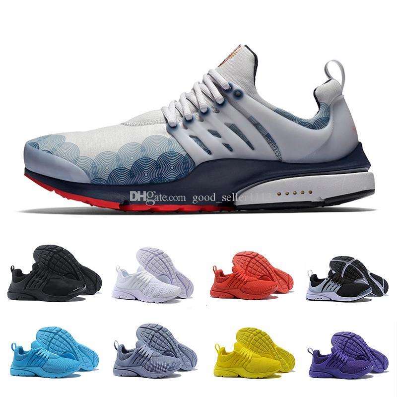 사파리 팩 프레스토 5 BR QS 숨을 숨 쉬는 흑백 옐로우 레드 남성 여성 운동 신발 망 레이서 블루 워킹 트레이너 스포츠 스니커즈