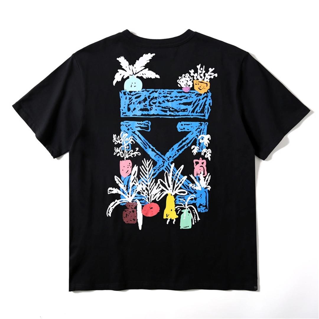 roupas de primavera e verão dos homens OW20 Roma limitada de graffiti estilo de impressão de manga curta casuais da forma dos homens de seta grande T-shirt de rua