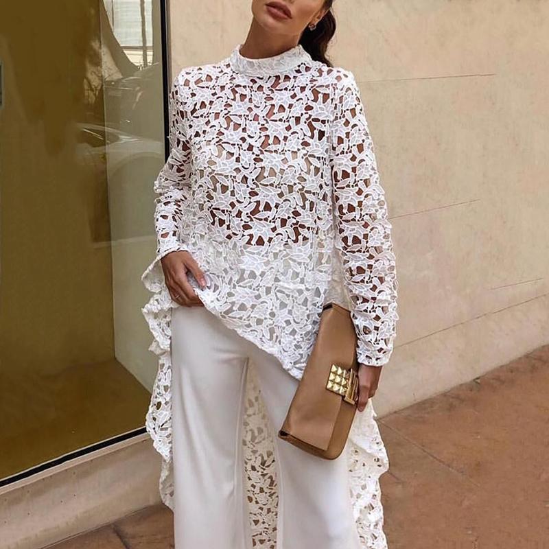 Fashion- Spitze aushöhlen Blusen Frauen-Tops Weibliche Stehkragen Langarm asymmetrischer Saum Bluse Modekleidung New