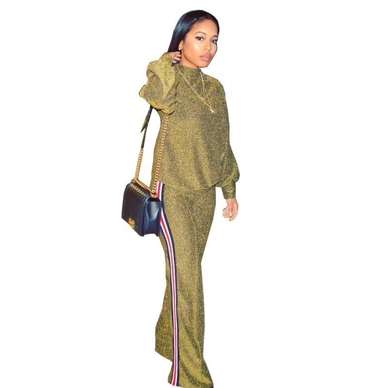 Fashion Crew Neck Frauen Zweiteiler Hose Lässige Designer Zweiteilige Sets Panelled weite Beine Set