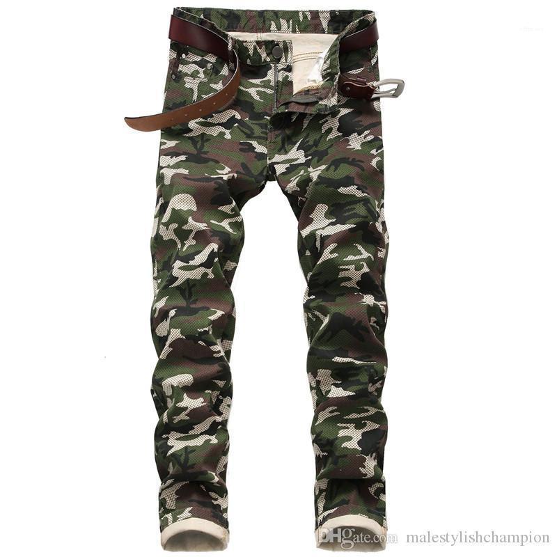 Beiläufig plus Größe Hose Designer Herren Camouflage-Hosen Art und Weise druckte dünne Jeans Herren