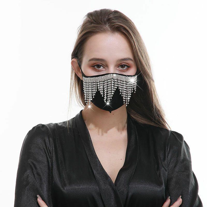 2020 New Drill Tassel Fashion Designer Women Decorative Party Sun Protective Face Mask Wholesale