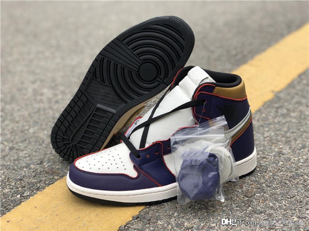 Yeni Hottest Otantik Hava Yüksek 1 OG Capiant SB Lakers Işık Kemik Mahkemesi Mor Siyah Altın Basketbol Ayakkabıları Retro Erkekler Sneakers CD6578-507