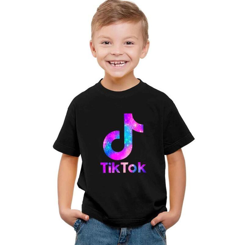 Drucken neuer Brief TIK TOK Runde Kragen Kurzarm-T-Shirt Jungen-Kleidung Hemd und T-Shirt schwarz