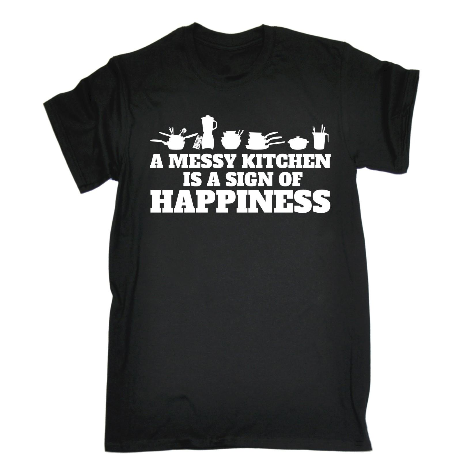 Ein unordentlicher Küche ist ein Zeichen des Glückes T-Shirt Chef Essen Koch Geburtstags-Geschenk-Hülsen-T-Shirt Homme T-Shirt Karikatur-Hip Hop-Hemd