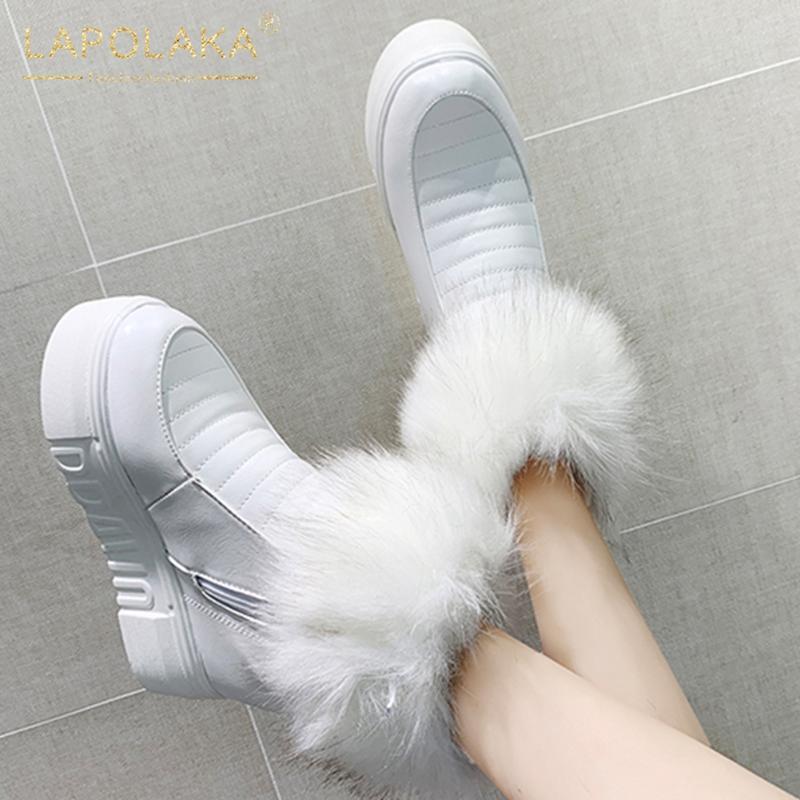 Lapolaka nuovo Snow Boots Russia Inverno caldo peluche Piattaforma Thich pelliccia Donna Scarpe interno alti talloni delle donne Stivaletti