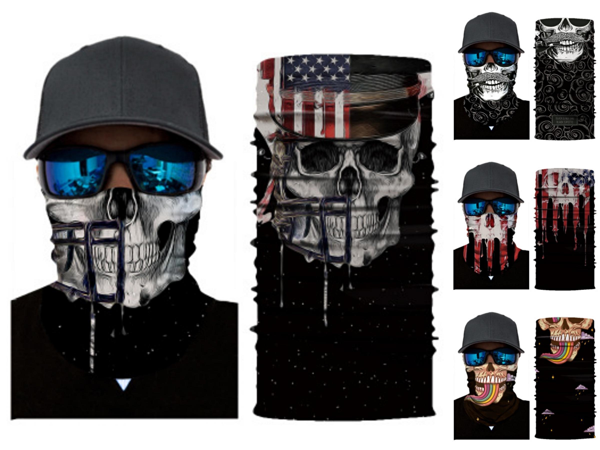 3D Волшебные печати Спорт Маска Summer Cool Skin Ice Шелковый дышащая Велоспорт маска Удобная упругая сила шеи Череп Череп Шарф верхом # 255