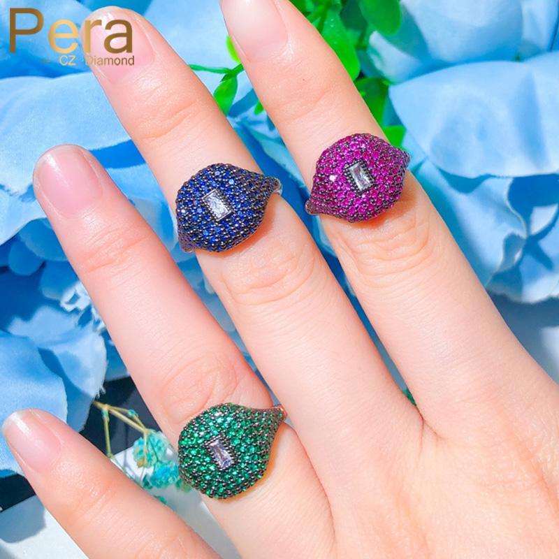 بيرا جديد عصري مجموعة الفوشيه الأخضر جولة تشيكوسلوفاكيا حجر 585 الذهب الزفاف قابل للتعديل المفتوحة الاشتباك خواتم الاصبع للمرأة R140