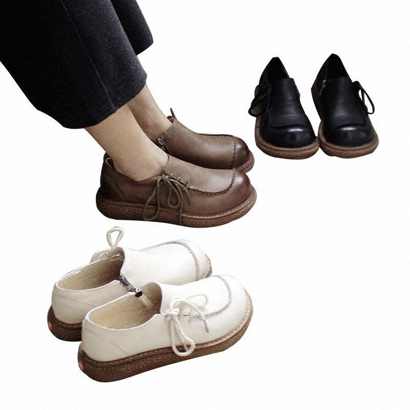 Primavera arte japonés hecho a mano de encargo retro zapatos cómodos plana principal grande de la muñeca zapatos con pequeñas mujeres de cuero para mujer sandalias comfortab 0thT #