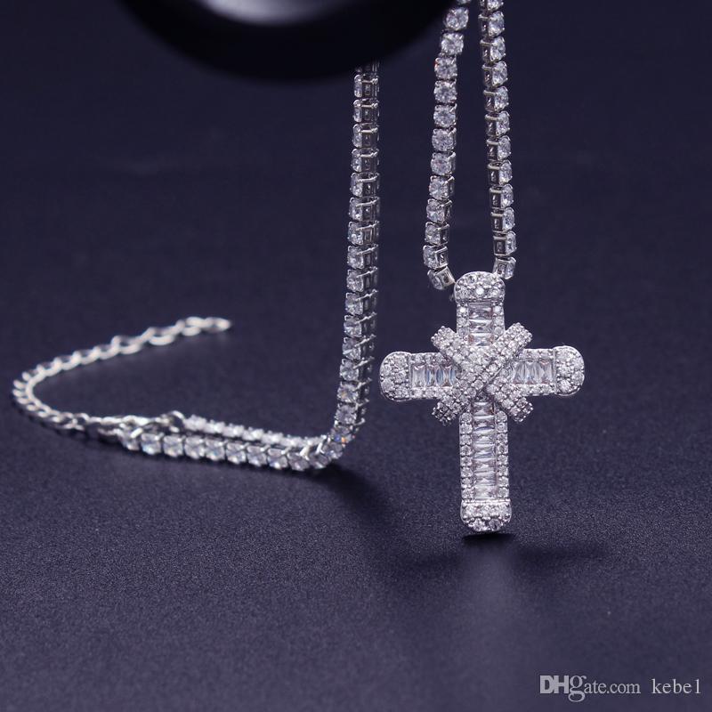 Cubic Zirconia de lujo Cruz collar con collar de tenis para las mujeres boda delicada cadena fuerte de alta calidad 33cm 40cm 50cm