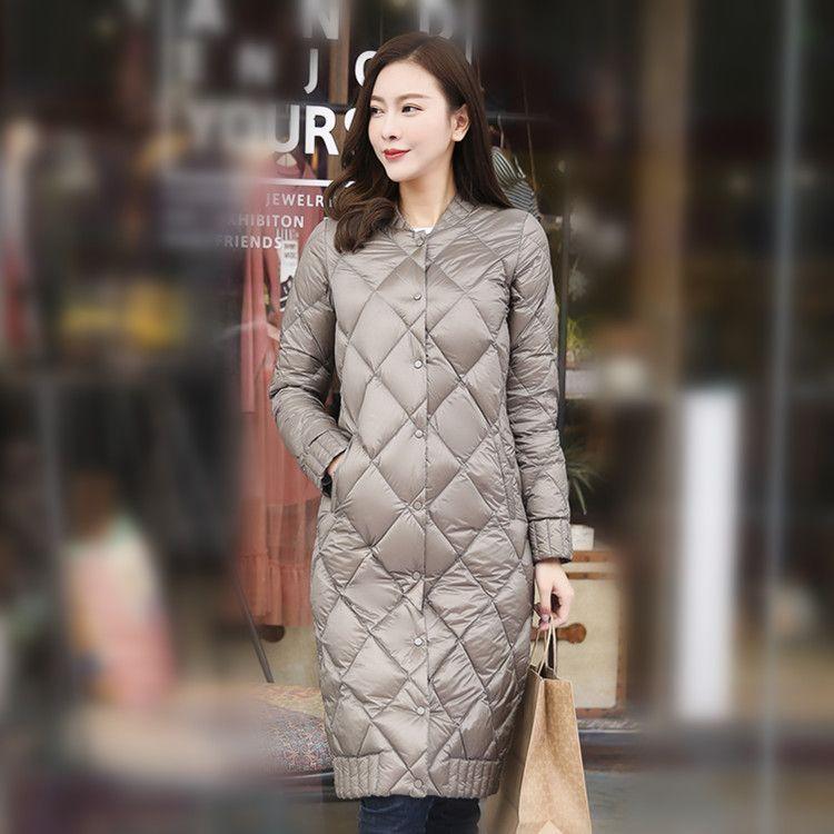 2020 Casacas Para için Işık Uzun Aşağı Ultra Ceket Kadınlar Sonbahar Kış Puffer Coat Koreli Giyim Mujer 0920 KJ4002
