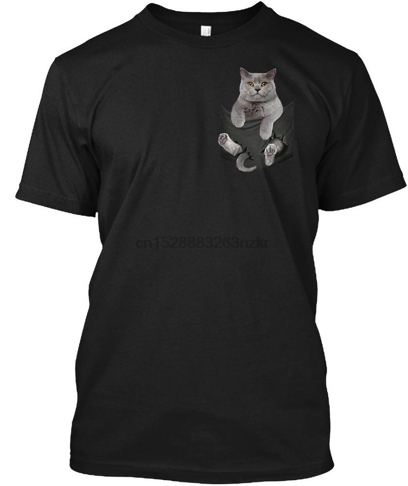 Uomini della maglietta del gatto British Shorthair tasca interna T-shirt