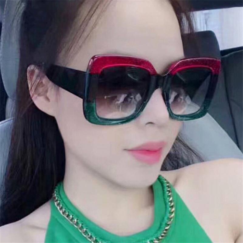 Lady Grandes óculos de sol Marca Designer Quadrado Mulheres Lente Feminino Superstar Oversized Óculos Óculos de Eyewear Sol Shades Novos Oculos Anti-UV EKWNM