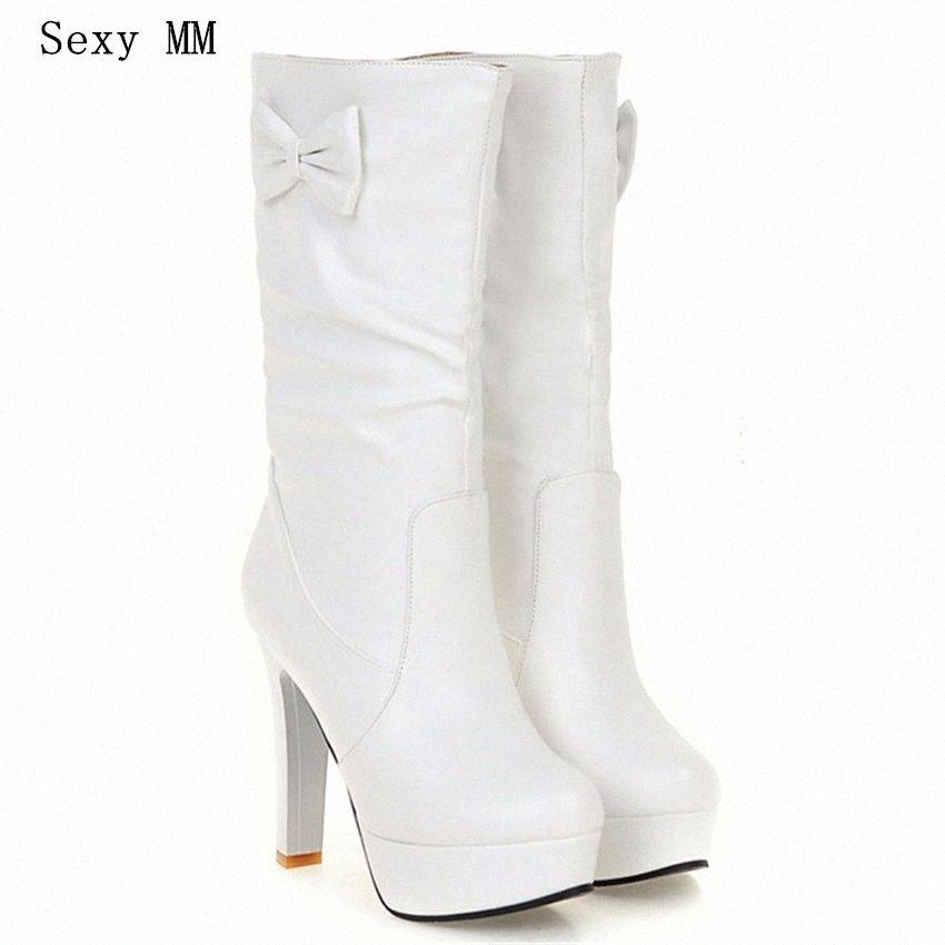 Mujer del otoño invierno de la plataforma de los altos talones media pantorrilla botas mujer botas cortas de las señoras Botas Botte Hembra más el tamaño 34 # 40.41.42.43 WTVI