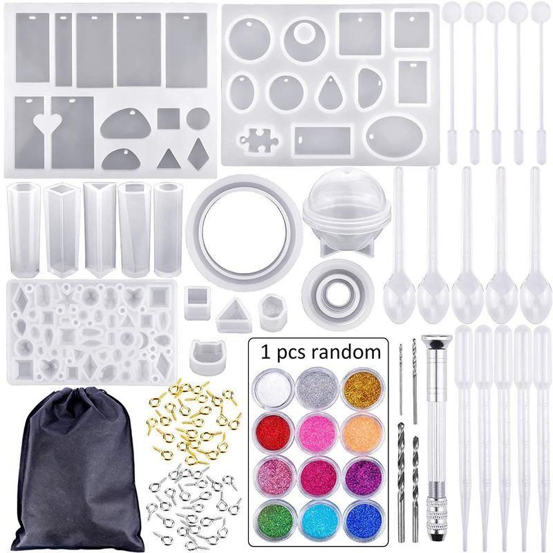 83pcs Moule Tools Kit Résine Moules de coulée pour artisanat Silicone Epoxy Bijoux Collier Pendentif DIY
