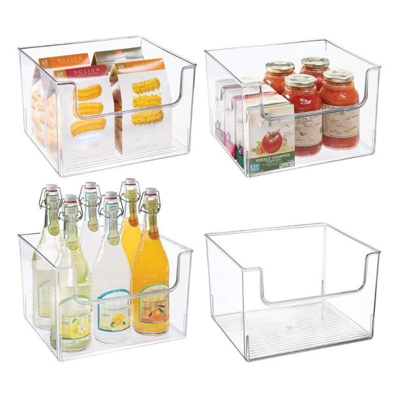 مسح المخزن المنظم صناديق بلاستيك منزلية سلة التخزين صندوق للبلاطات خزائن المطبخ ثلاجة التجميد