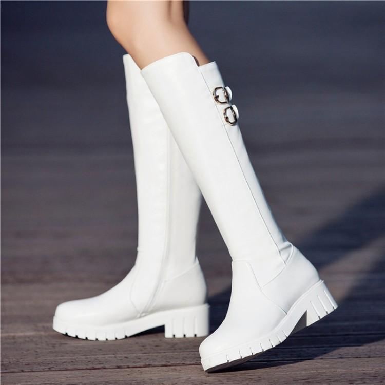 Artı boyutu 34 42 43 Seksi Siyah Beyaz Tokalar için Yan Düşük Topuk Diz Yüksek Boots Plush001 ekle Zip