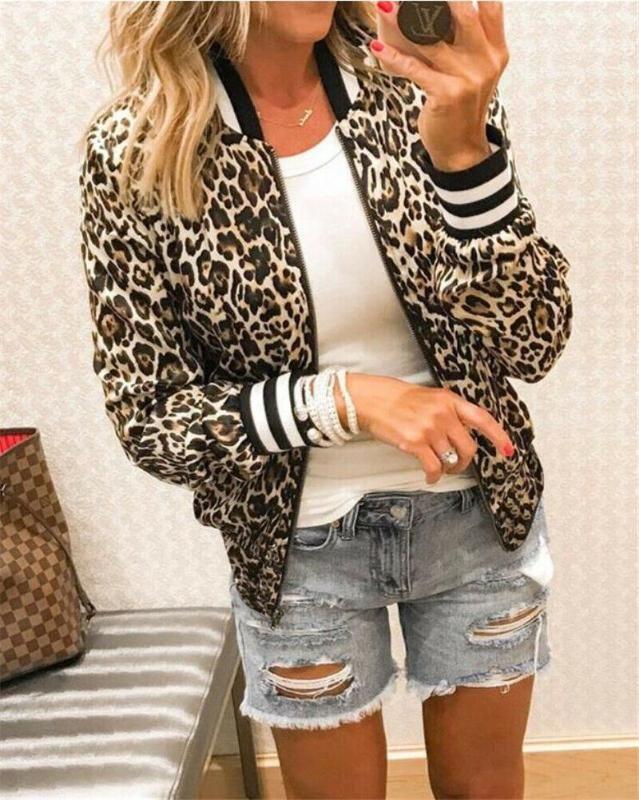 Mode-Leopard-Druck Mäntel Jacken Frauen Langarm-Oberbekleidung lose elegante Damen Harajuku Jacket Female Zipper Street