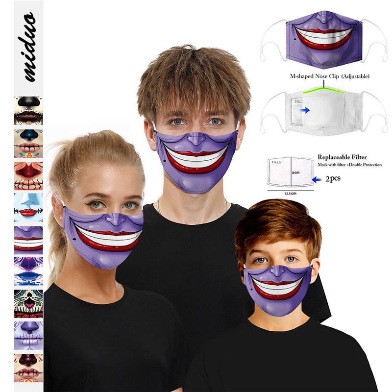 Lustige Halloween-Gesichtsmaske Schädel Clown Kinder Adutls Gesichtsmasken Staubdichtes Anti-Nebel-Gesichtsmaske mit 2 Stück Filter waschbar Masken 120pcsT1I244 Drucken