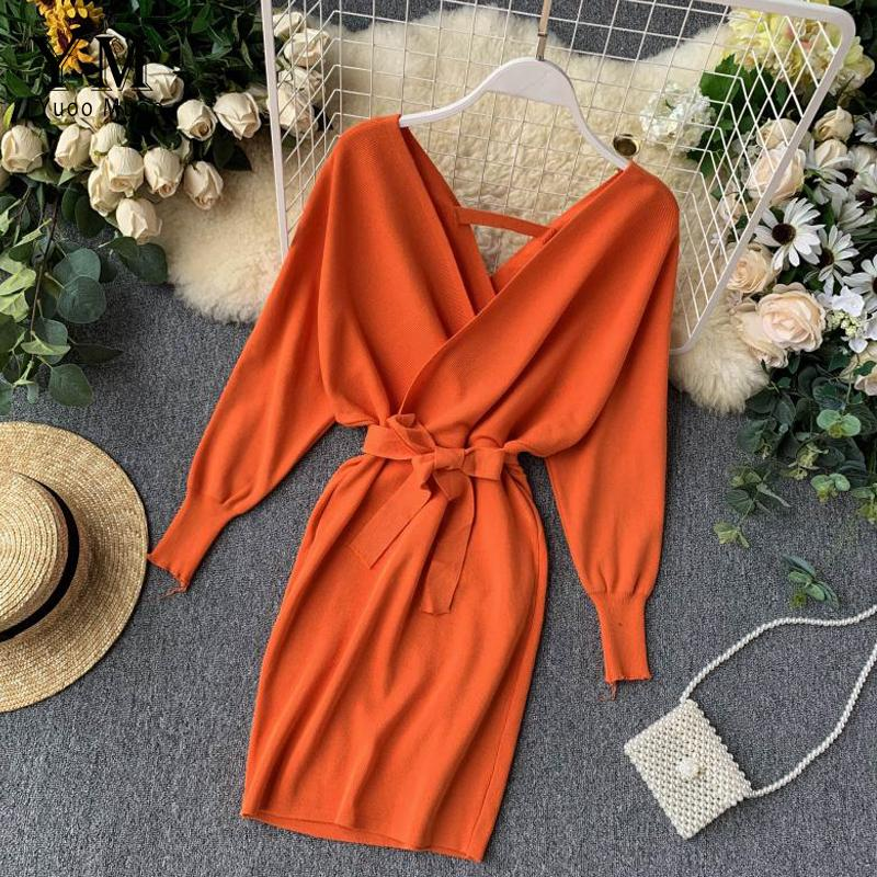 YuooMuoo Autumn Winter Women Knitted Sweater Dress 2020 New Korean Long Batwing Sleeve V Neck Elegant Dress Ladies Bandage Dress LJ200909